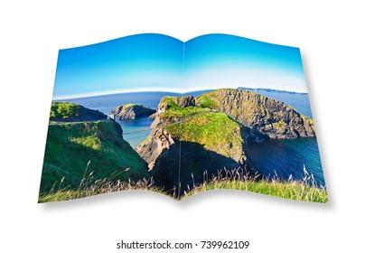 Irish landscape with suspended bridge on cliffs (Northern Ireland - United Kingdom - Carrick a Rede) - 3D render of an open photo album.