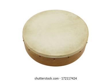Irish percussion Bodhran isolated on white