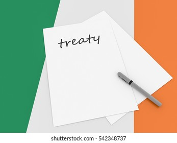 Irish Politics: Treaty Note On Ireland Flag, 3d illustration