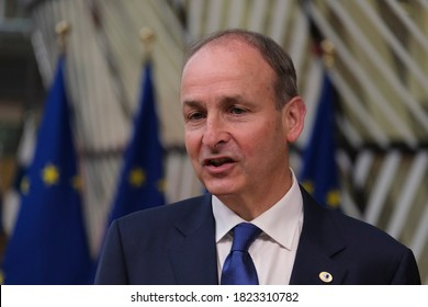 Irish Prime Minister Micheal Martin arrives at the first face-to-face EU summit since the coronavirus disease (COVID-19) outbreak, in Brussels, Belgium July 20, 2020.
