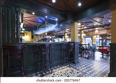 Irish pub interior tiled floor