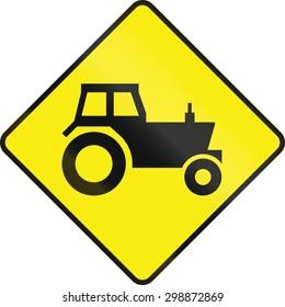 Irish road warning sign - Tractor/farm vehicle crossing