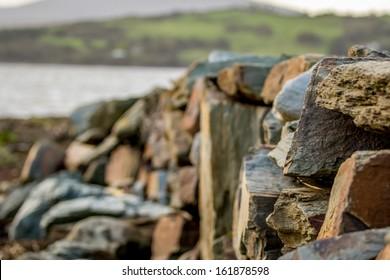 Irish stone wall near sea in West Cork