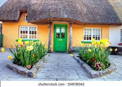 Irish traditional cottage house in Adare - Ireland.