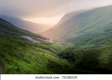 Irish valley with magnificent sunlight