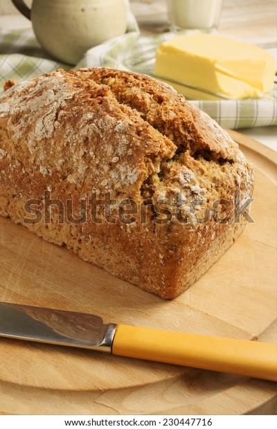 Irish wheaten bread soda bread made with wholemeal flour