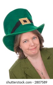 Irish woman with green outfit,hat and green eyes isolated over white