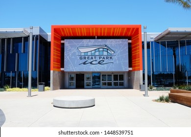 IRIVNE, CALIFORNIA - JULY 11, 2019: Great Park Ice and FivePoint Arena, a $110-million facility by the NHLs Anaheim Ducks, provides training space and community skating facility.