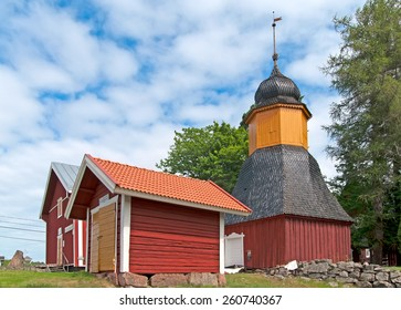 IRJANNE, EURAJOKI, FINLAND - JULY 6, 2013: Part of the museum complex in Irjanne. On the right side is belfry. Left side is a storage and a small fire station