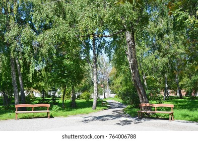 Irkutsk, Park in the historic estate of V. P. Sukachev in summer