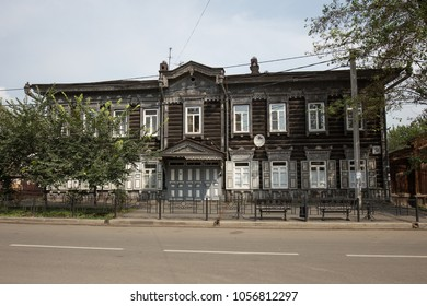 IRKUTSK, RUSSIA - AUGUST 29, 2015: Old wooden house in Irkutsk, Russia.