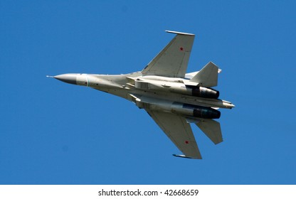 IRKUTSK, RUSSIA - AUGUST 29: Military fighter SU-30KN at airshow in honor of the 75th anniversary of the Irkutsk Aviation Plant on August 29, 2009 in Irkutsk, Russia