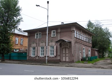 IRKUTSK, RUSSIA - AUGUST 4, 2012: Old wooden house in Irkutsk, Russia.