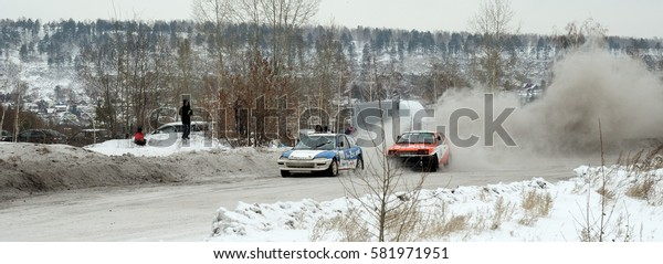 "Irkutsk, Russia -  February 18, 2017 ; Track ""Bokovo"", 1st stage the Cup of Russia in autocross."