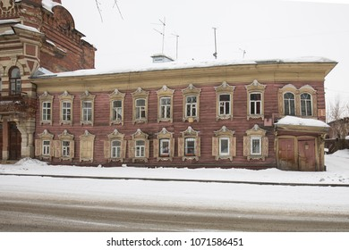 Irkutsk, Russia - Mar 9, 2018: Old wooden house in Irkutsk.