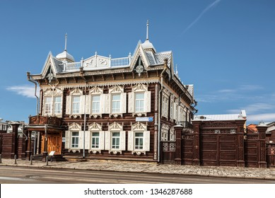 IRKUTSK, RUSSIA - MARCH 13, 2019: House of Europe or Lace house on the street Friedrich Engels, 21. The wooden house of merchant Shastin, monument of architecture. Irkutsk, Russia
