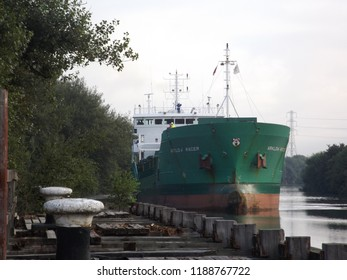 Irlam Salford Greater Manchester England 27th August 2013 A Cargo ship on the manchester ship canal