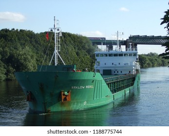 Irlam Salford Greater Manchester England 15th August 2013 A Cargo ship on the manchester ship canal