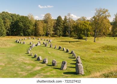 Iron age burials called Anundhog, near Vasteras, Sweden