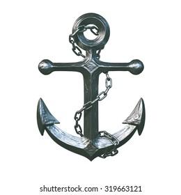Iron Anchor Isolated on White Background