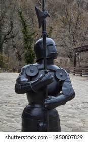 Iron armor of a medieval knight. Ancient metal armor of a medieval knight.