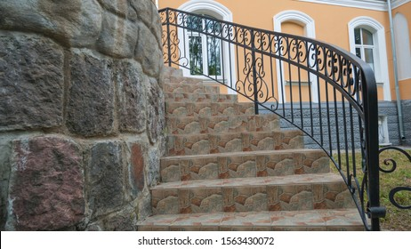 Iron banister. Elements railing of a beautiful country house, Villa