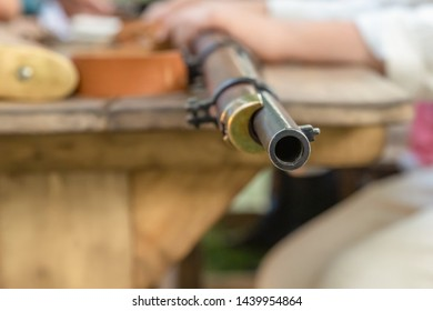 the iron barrel of the gun was distributed during the Russian-Turkish war of 1877-1878, muzzle-loading close-up