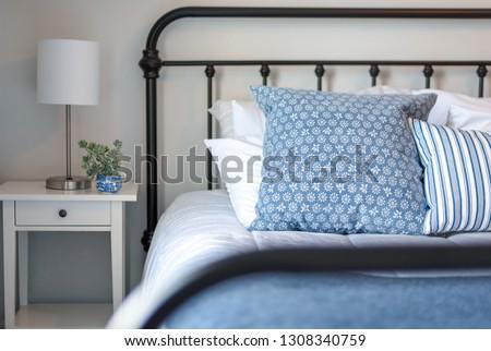 Iron Bed Blue White Bedding Modern Stock Photo Edit Now 1308340759