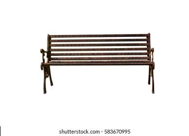 Iron bench on a white background.