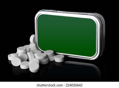 Iron box and mint pills on a black background with reflection.