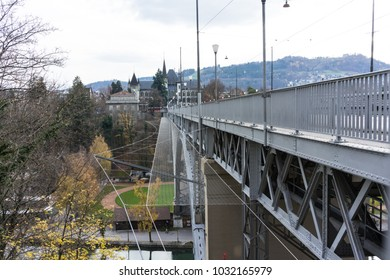 iron bridge in bern capital of switzerland with old town