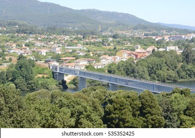 Iron bridge over the river Minho between Tui  (Spain) and Valenca (Portugal).
