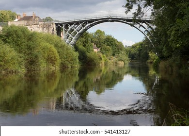 The Iron Bridge over the River Severn in the Ironbridge Gorge, Shropshire, England, UK. The bridge was built in 1779 and was the first to be fabricated out of cast iron.