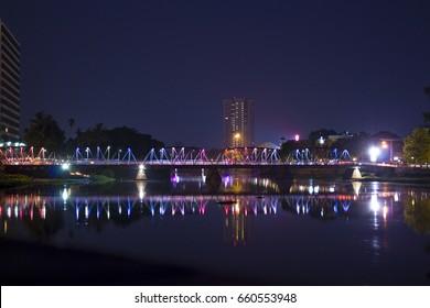 Iron Bridge (Sapaan Lek) over the Ping River in Chiang Mai, Thailand.