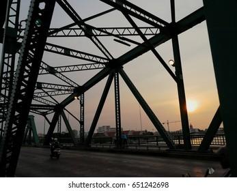 iron bridge and sunset