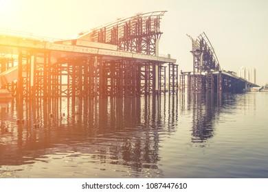 Iron bridge under construction