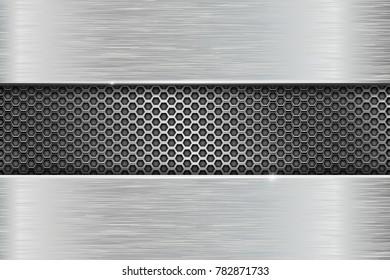 Iron brushed metal texture with metal perforation. 3d illustration. Raster version