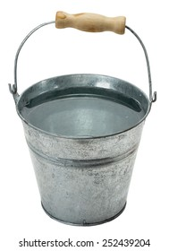 iron bucket with water isolated on the white background