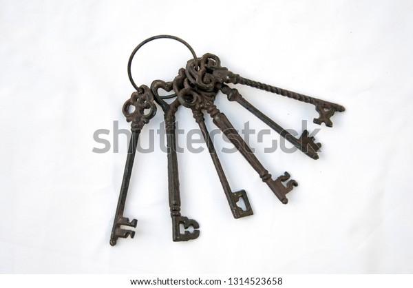 Iron cast rusty old keys