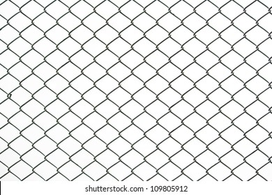 Iron chain fence on the white background