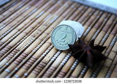 iron coin Ukrainian hryvnia, two hryvnia coin