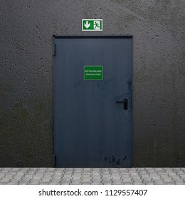 Iron door with illuminated sign emergency exit. 3d rendering