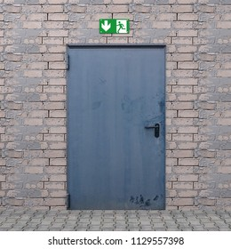 Iron door with shield emergency exit. 3d rendering