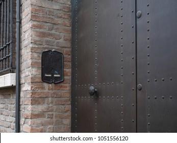 Iron door with strange intercom. & Strange Doors Images Stock Photos \u0026 Vectors   Shutterstock