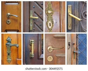 The iron doorhandle on the wooden doors