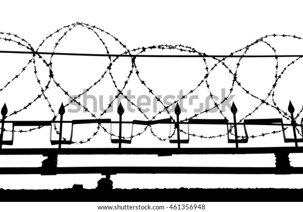Iron Fence With Barbed Wire On A White Background
