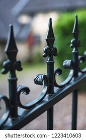 Iron fence at historic country house.