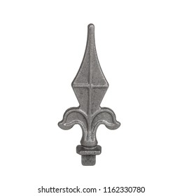 Iron fence pole fotged tip / Decorative arrow shaped gray sprayed forgee metal piece isolated on white