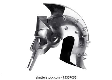 Iron forged Roman legionary helmet on a white background