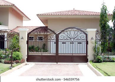 Iron front gate of a beautiful luxury home